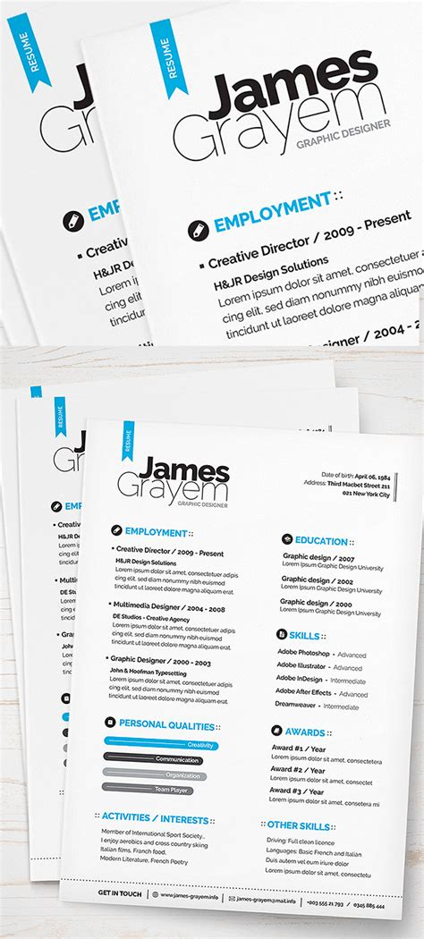 Psd Resume Template 15 Free Modern Cv Resume Templates Psd