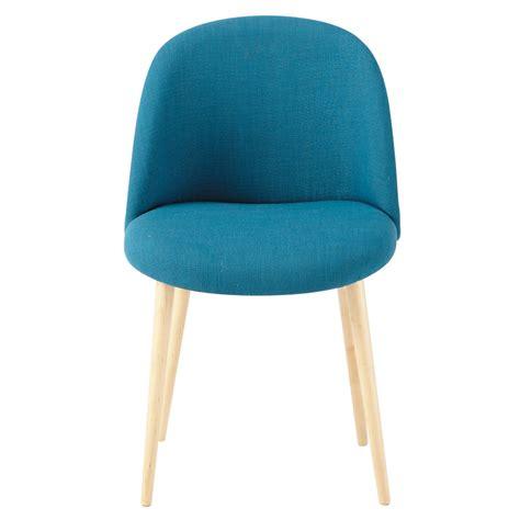 chaise vintage en tissu  bouleau massif bleu petrole mauricette maisons du monde