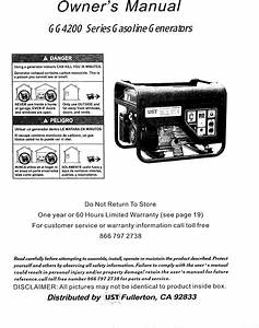 Ust Gg4200 User Manual Generator Manuals And Guides 1211493l