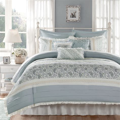 shabby chic paisley bedding chic blue lace 9pc queen comforter set french cottage shabby paisley bedding 149 95 picclick