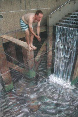 waterfall effect illusion new pavement drawings by julian beever