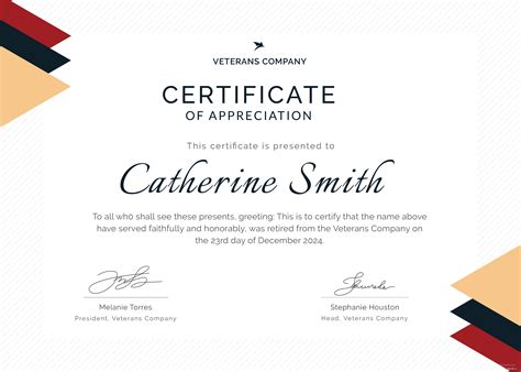 retirement certificate  appreciation template