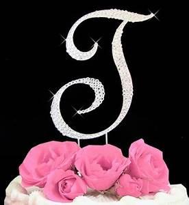 Letter t cake topper rhinestone initial t cake toppers for Letter t cake topper