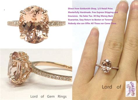 8x10mm oval cut morganite engagement diamonds ring real