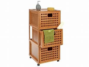 Meuble De Salle De Bain En Bambou : meuble de salle de bain roulettes 3 tiroirs gamme ~ Edinachiropracticcenter.com Idées de Décoration