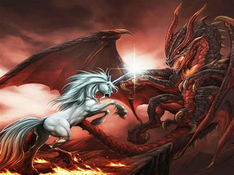 fantasy dragon unicorn war abstract ultra  hd