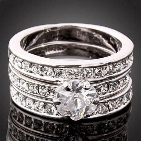 3 in 1 swarovski cz 18k white gold gp engagement wedding band ring ebay