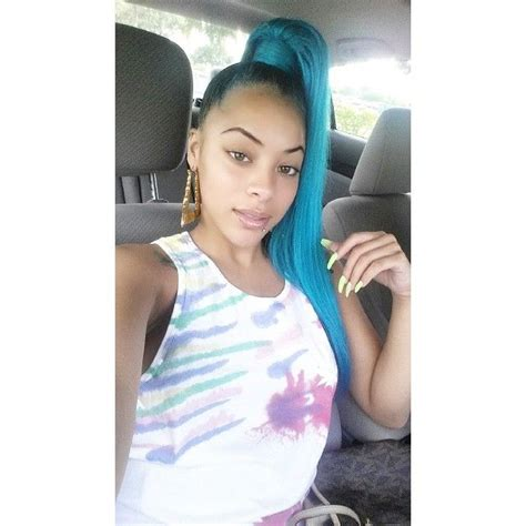 Green Blue Hair Hairstyle Style High Side Ponytail Cute