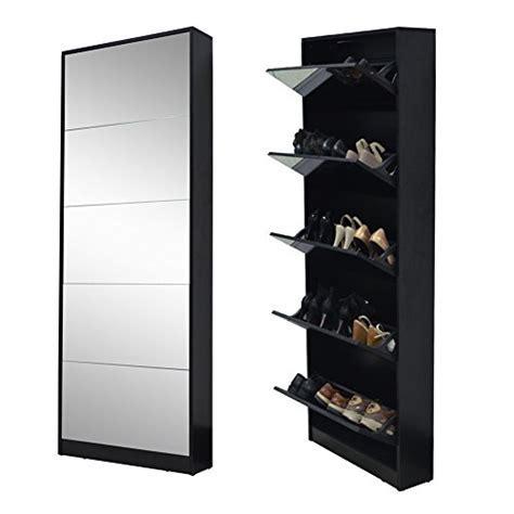Organizedlife Black Mirror Shoe Cabinet Living Room Shoe