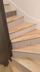 Marche Bois Escalier : marche en bois et contremarche carreau de ciment escalier bois carreau ciment en 2019 ~ Voncanada.com Idées de Décoration