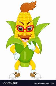 Cute corn cartoon standing with smile Royalty Free Vector