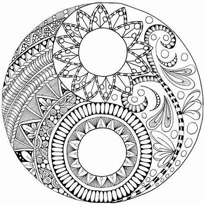 Yang Yin Coloring Pages Ying Mandala Zentangle
