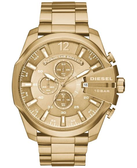 diesel mens chronograph mega chief gold tone stainless