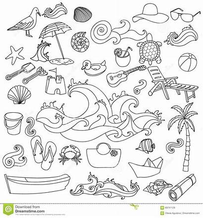 Simboli Oggetti Objects Spiaggia Estate Coloring Cartoon