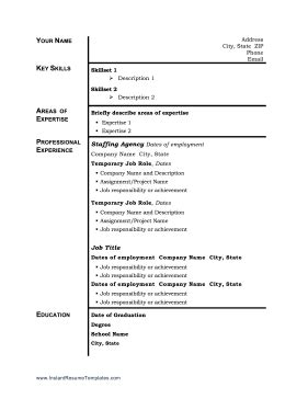 Free Resume Temp by If You Ve Done Work For A Staffing Agency Or Temp Company