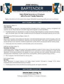 resume format for experienced bartender professional resume exle bartender resume no experience