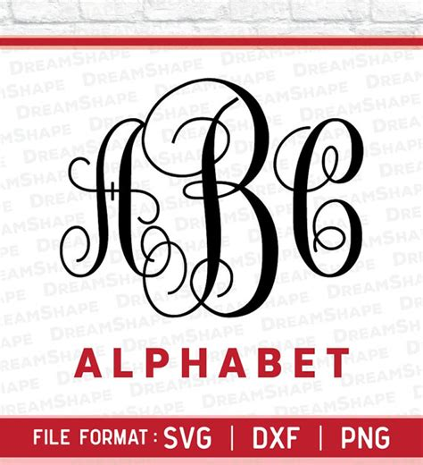 svg fonts circle monogram dxf png alphabets letters cuttable