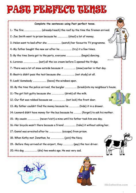 perfect tense worksheet  esl printable