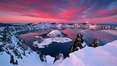 Crater Lake Winter During Wallpapers