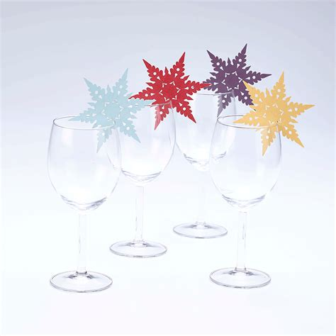 snowflake wine glass decorations 8 snowflakes hanging