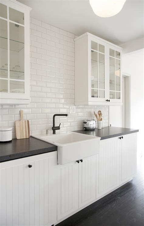 White Beadboard Kitchen Cabinets With Beveled Subway