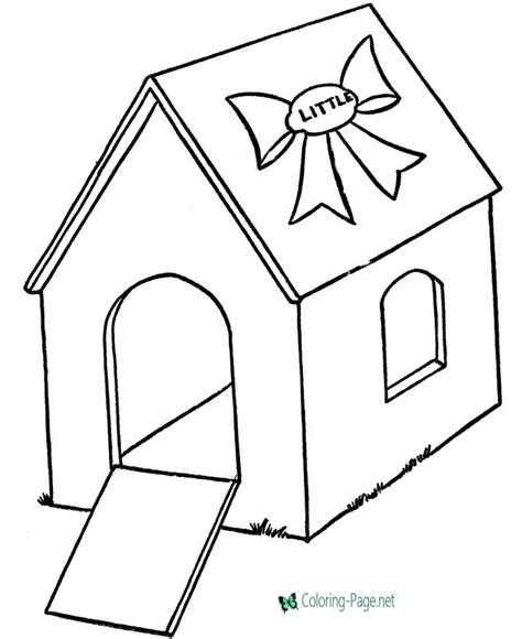 house coloring pages dog houses