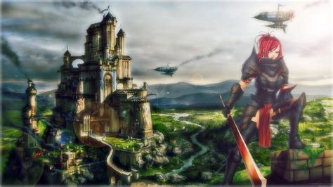 Cool Fairy Tail Backgrounds Erza Scarlet Knight Castle Full Hd Wallpaper And Background Image 1920x1080 Id 516436
