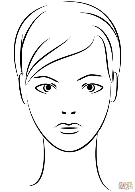 young woman face coloring page  printable coloring pages
