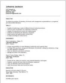 lab technician resume skills resume sle laboratory technician resume sles lab assistant description for resume