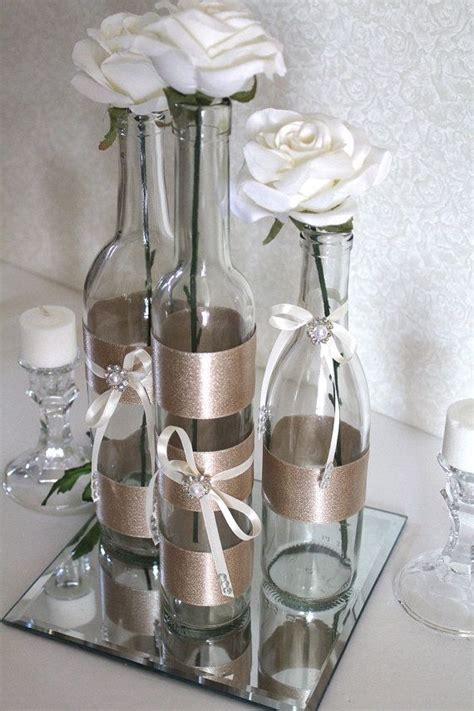 decorated wine bottle centerpiece chagne by