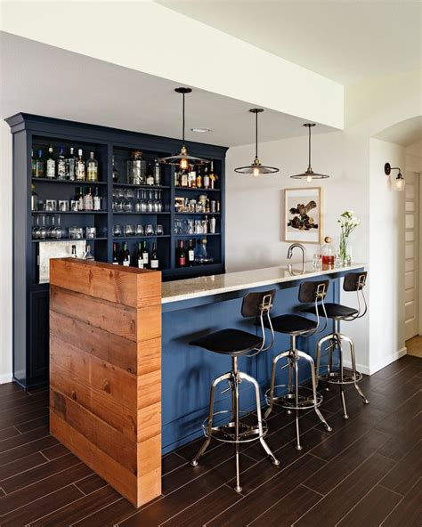 Portland Dark Wood Floors Home Bar Transitional With Glass