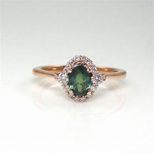 natural alexandrite 069 carat with diamond halo in 14k With natural alexandrite wedding rings