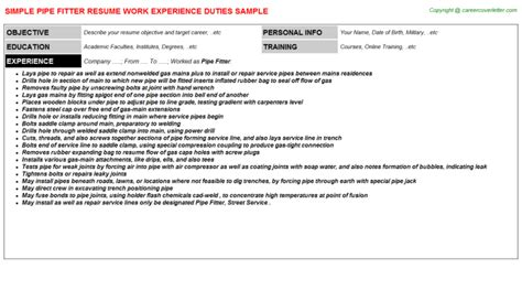 Pipe Fitter Description Resume by Pipe Fitter Resumes Sles