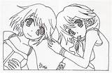 Twins Anime Lineart Deviantart sketch template