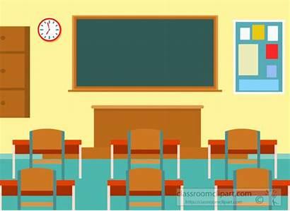 Classroom Clipart Student Desks Flat Illustration Interior