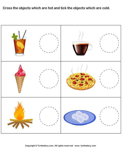 tick cold objects cross hot objects worksheet turtle diary