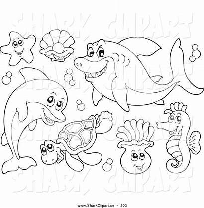 Sea Coloring Pages Clipart Water Outline Outlines