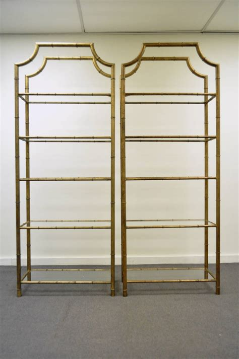 Etagere Bamboo by Pair Of Regency Faux Bamboo Gilt Metal Tole