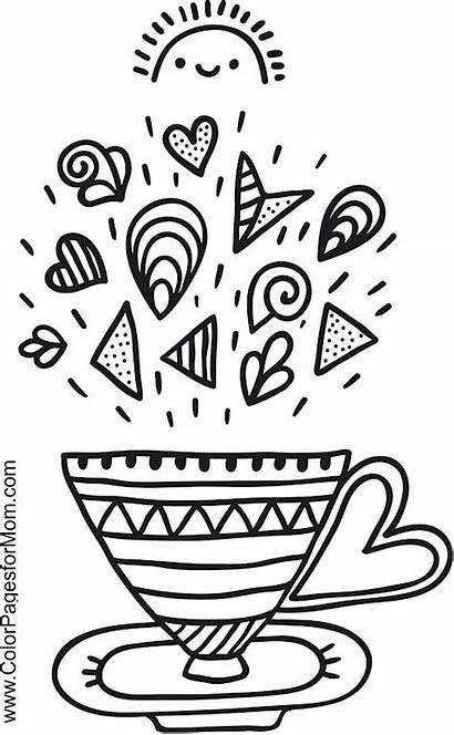 Coloring Coffee Pages Tea Adult Sweet Printable