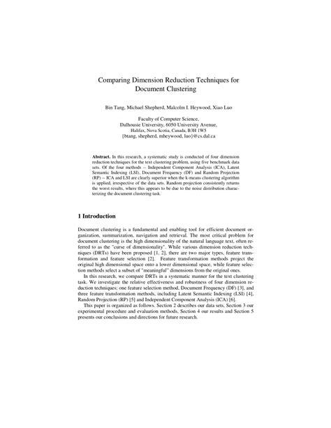 (PDF) Comparing Dimension Reduction Techniques for