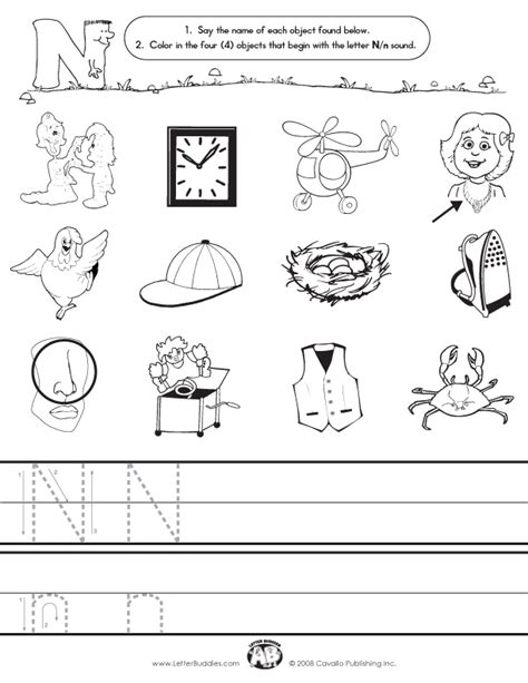 colors that start with the letter n initial sounds worksheet n 53264