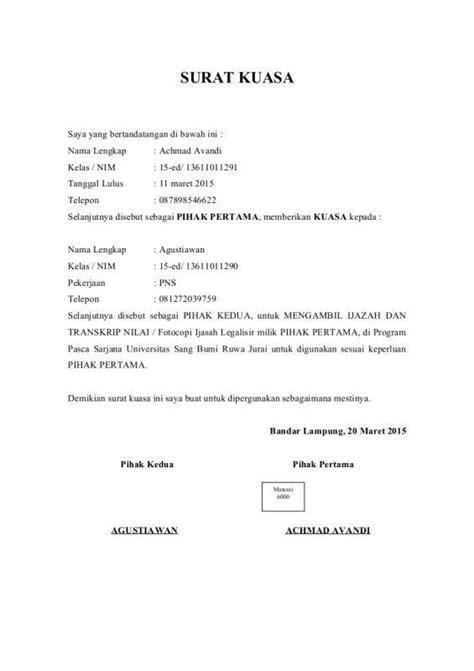 Contoh Surat Kuasa Pengambilan Berkas by Contoh Surat Kuasa Pengambilan Ijazah Education Surat