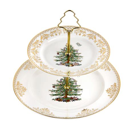 Spode Christmas Tree Santa Cookie Jar by Spode Christmas Tree Gold Cake Stand 2 Tier 49 99 You