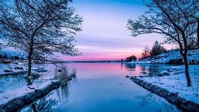 Winter Lake 1080p Sunset Nature Horizon Wallpapers