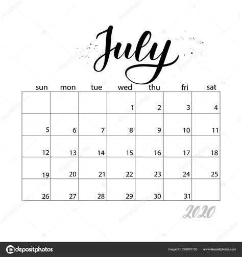 july monthly calendar   year stock vector