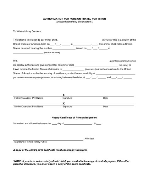 authorization letter  child travel  grandparents