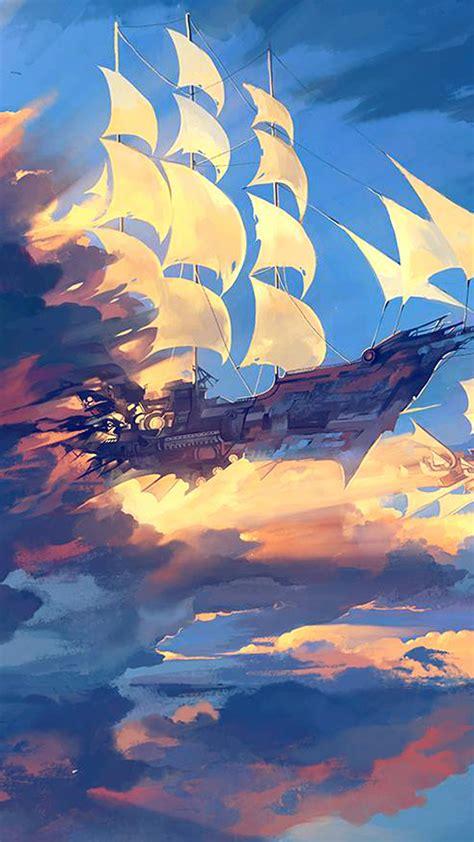 papersco iphone wallpaper az fly ship anime