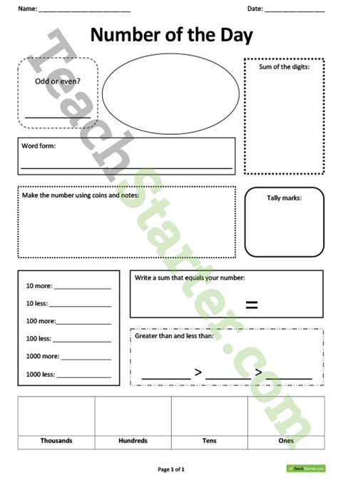 number of the day worksheet teaching resource teach starter
