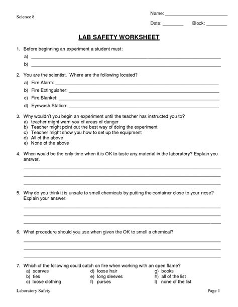 worksheets on science lab safety 11 best images of lab equipment worksheet answers