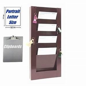 Hanging Chart Holders Key Hook Clipboard Rack 4 Pockets 9 1 2 Quot W X 8 Quot D 800
